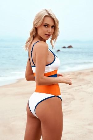 Chic Scoop Spaghetti Straps Adjustable Straps High Waist Two-piece Bikini Set
