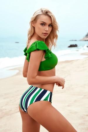Ruffles Deep V-Neck Open Back Vertical Stripe Low Waist Bikini Set