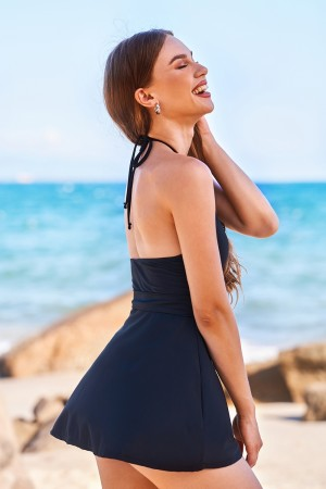 Sexy Black V-neck Tie-back Halter Straps Open Back Swim Dress