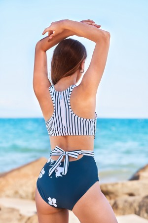Stripe Floral With Tie Zip One Piece Swimsuit