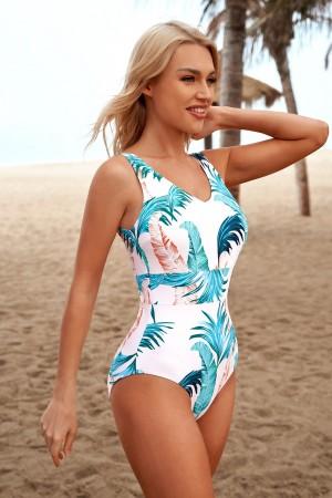 Floral V-Neck Open Back Unique One-Piece Swimsuit