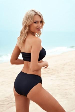 Black Strapless Low Waist Black Bottom Sexy Bikini Set