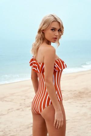 Vertical Stripe Strapless Ruffle Glamorous One-Piece Swimsuit