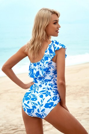 Floral Ruffles Spaghetti Straps Adjustable Straps Open Back One-Piece Swimsuit